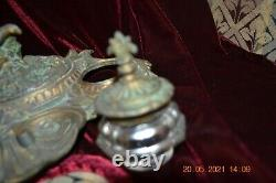 1800s Intricate VICTORIAN BRASS Double INKWELL with Cherub MUST SEE