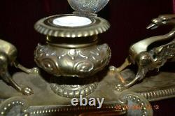 1800s Intricate VICTORIAN BRASS INKWELL with Dragons on both sides MUST SEE