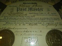 1911 Loyal Orange Lodge No 6 Past master certificate. Very antique Must SEE