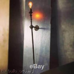 19th C GAS WALL ONE ARM BRASS SCONCE ELECTRIFIED, ADJUST IN HEIGHT. MUST SEE
