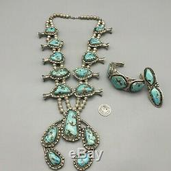 A Stunner! This Vintage Three Piece Squash Blossom Necklace Set Is A Must See