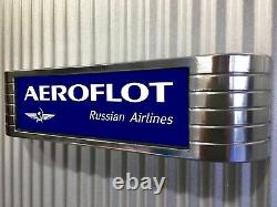 AEROFLOT Light Up lighted Russian Airlines Aviation Sign faux chrome MUST SEE