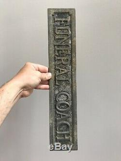 ANTIQUE FUNERAL COACH CAST METAL SIGN HEARSE Casket Must See