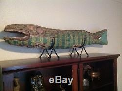 Amazing Primitive/folk Art / Advertising Hand Painted Wooden Fish Must See Rare