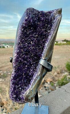 Amethyst Geode Crystal Cluster With Stand Dark Purple URUGUAY 1100 Gr. Must See