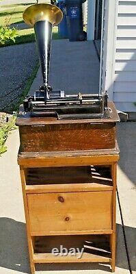 Antique 1901 Edison Home Phonograph With Horn & Stand NO Cylinders WORKS MUST SEE
