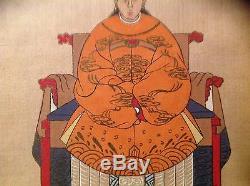 Antique Asian Silk Paintingpair -emperor Tang Taizong An Wife Must See Amazing