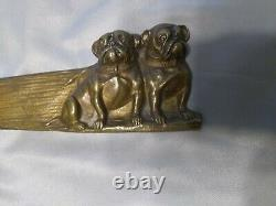 Antique Bronze Letter Opener Austria, pair of sitting Bull Dogs Must See