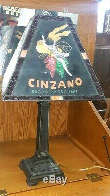 Black Cinzano Hand Painted Stained Glass Lamp MUST SEE Beautiful Signed