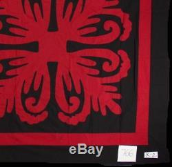 Black & Red Hawaiian Design QUILT TOP Queen, Masculine Must See Design