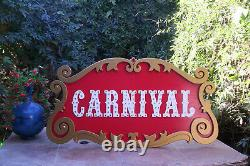 CARNIVAL Circus Sign Hand Made! Must See! BIG 35 wide