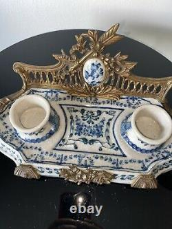Castilian Brass & Porcelain Inkwell RARE Beauty Must SEE Signed