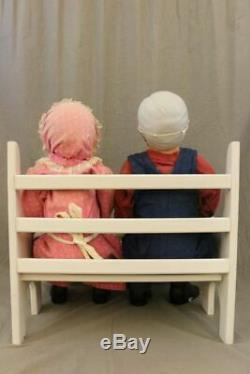 Ceramic 30 Grandma + 35 Grandpa Dolls Sitting On White Bench CUTE MUST SEE