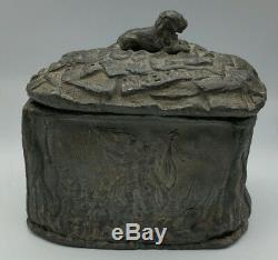 Crimean War British Army Battle Scenes Lead Tobacco Jar Box Dated 1854 MUST SEE