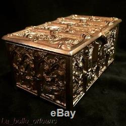 EARLY 1900's GERMAN GOTHIC BRASS DESK HUMIDOR / TRINKET BOX. MUST SEE. L@@k