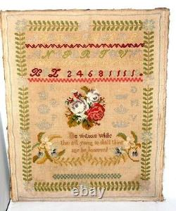 Embroidered SAMPLER c1850 Original Antique GORGEOUS MUST SEE