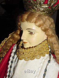 Fantastic antique Spanish MOTHER of MARY 27in Statue life like MUST SEE Jewels
