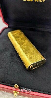GOLD CARTIER LIGHTER OVERHAULED! MINT MUST SEE! Working Perfectly