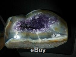 Genuine Brazilian Amethyst Crystal in Solid Agate Geode 3lb. Must See