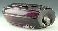 Gorgeous Amethyst Cornucopia Urn Pictorial Blown Pint Flask Open Pontil Must See