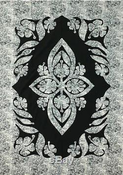Grey & Black Hawaiian Design Wall Quilt QUILT TOP, Masculine Must See Design
