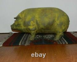 HUGE ANTIQUE/VTG CAST IRON PIG 18 FANTASTIC PATINA Must See 22 POUNDS MAN CAVE