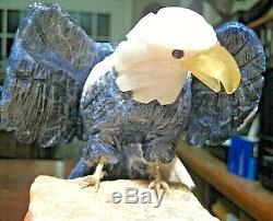 Hand Carved Genuine Gemstones Eagle Figurine Bird Statue Stone Base 7 Must See