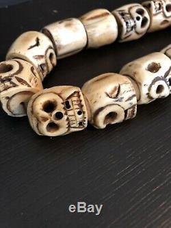 Handmade Tibetan Bone Mala MUST SEE 108 Skulls Ultra Rare In Size