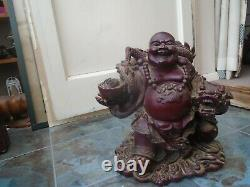 Impressive HUGE Chinese red lacquered resin Buddha statue MUST SEE BUDDHA