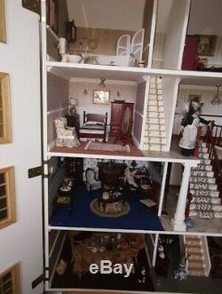 Large Fully Furnished Dolls House Lighting Carpet Must See collection Only BB18