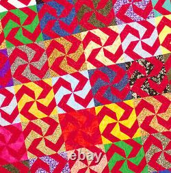 Large Graphic Scrap quilt FINISHED QUILT Great masculine look Must See