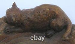 MAGNIFICENT RARE 19TH c FRENCH BRONZE CATS INKWELLl MUST SEE