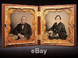 MINTY MASONIC THERMOPLASTIC CASE With 2 HIGHLY TINTED AMBRO PORTRAITS MUST SEE