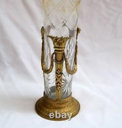 Magnificent 1900 French Bronze Crystal Tall Vase Must See