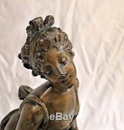 Magnificent 19c Art Nouveau Bronze Statue Inkwell (must See)