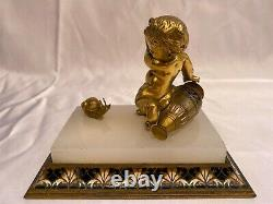 Magnificent French 1900 Bronze Marble Boy Scared Of Snail'must See