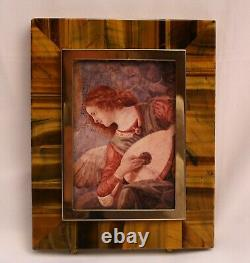 Magnificent French Tigers Eye Bronze Marble Picture Frame Must See