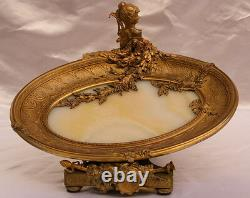 Magnificent Rare French 19c Bronze, Onyx Center Piece Card Holder Must See
