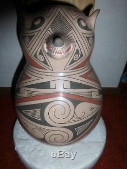 Mata Ortiz Eiffigy Wolf Pottery-Sabina Villalba-Exquisite! Must See