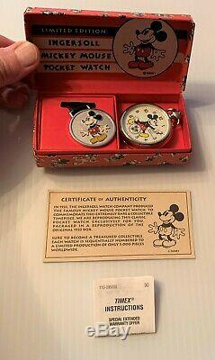Mickey Mouse INGERSOLL 1933 Pocket Watch NIB Reproduction with COA Must See Video