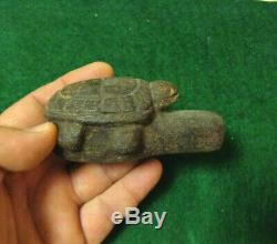 Museum Piece! Authentic Native American Turtle Effigy Tobacco Pipe! Must See