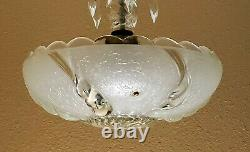 Must See! AWESOME Art Deco 3-Chain Glass CHANDELIER 3-Light Fully Restored