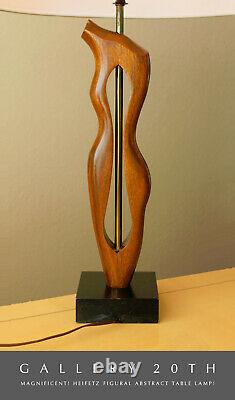 Must See! Heifetz Figural Wood Table Lamp! Modern Art! Carved Oak Female Form