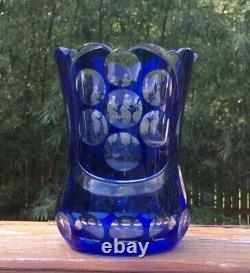 Must See! Moser Hoffman Cut Art Glass Cobalt to Clear Mythological Vase