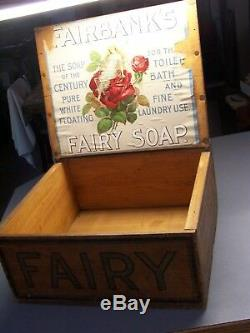 Nice/Must See Antique FAIRBANK'S Pure White Floating Soap Advertising Wooden Box