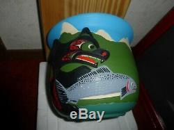 Northwest Coast Salish Bear-Salmon Large Pottery by Stewart Jacobs. Must see