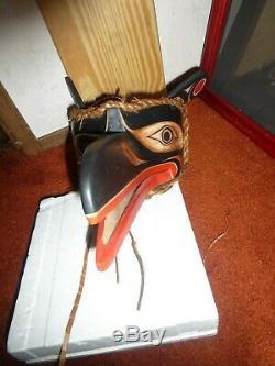 Northwest Coast Salish Deep Hand Carved Raven Mask-Rand Stiglitz! Must See