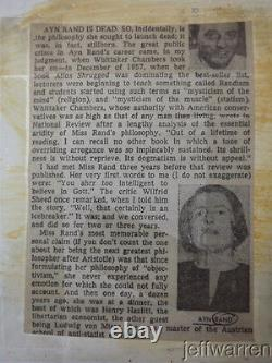 Original AYN RAND Photograph with Stamped Dates & Newspaper Article MUST SEE