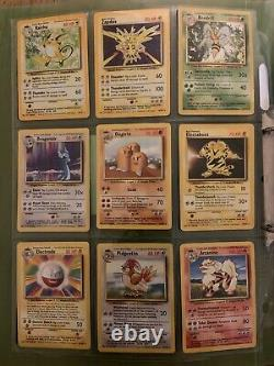 Pokemon Cards NEAR COMPLETE Base Set Ultra Pro VINTAGE RARE MUST SEE