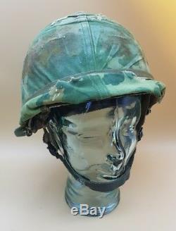 Post WW2 US Vietnam M1C Paratroopers Airborne Helmet + Liner & Dog Tag MUST SEE